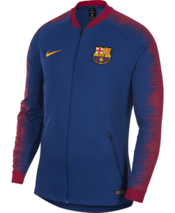 Nike FC Barcelona Anthem Trainingsjack 2018 - 2019 Royal Blue voorkant