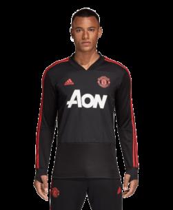 adidas Manchester United Trainingsshirt 2018-2019 Black Blaze Red voorkant
