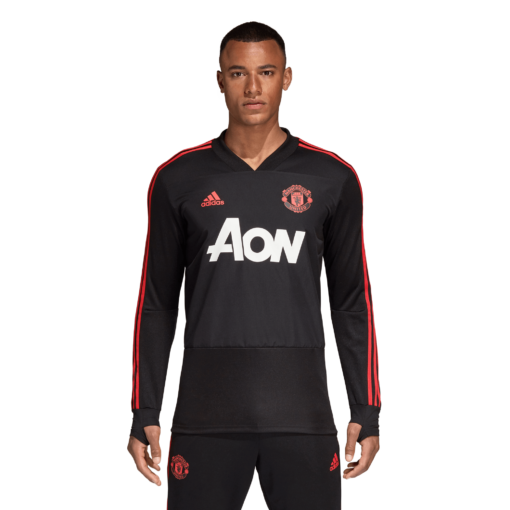 adidas Manchester United Trainingsshirt 2018-2019 Black Blaze Red voorkant