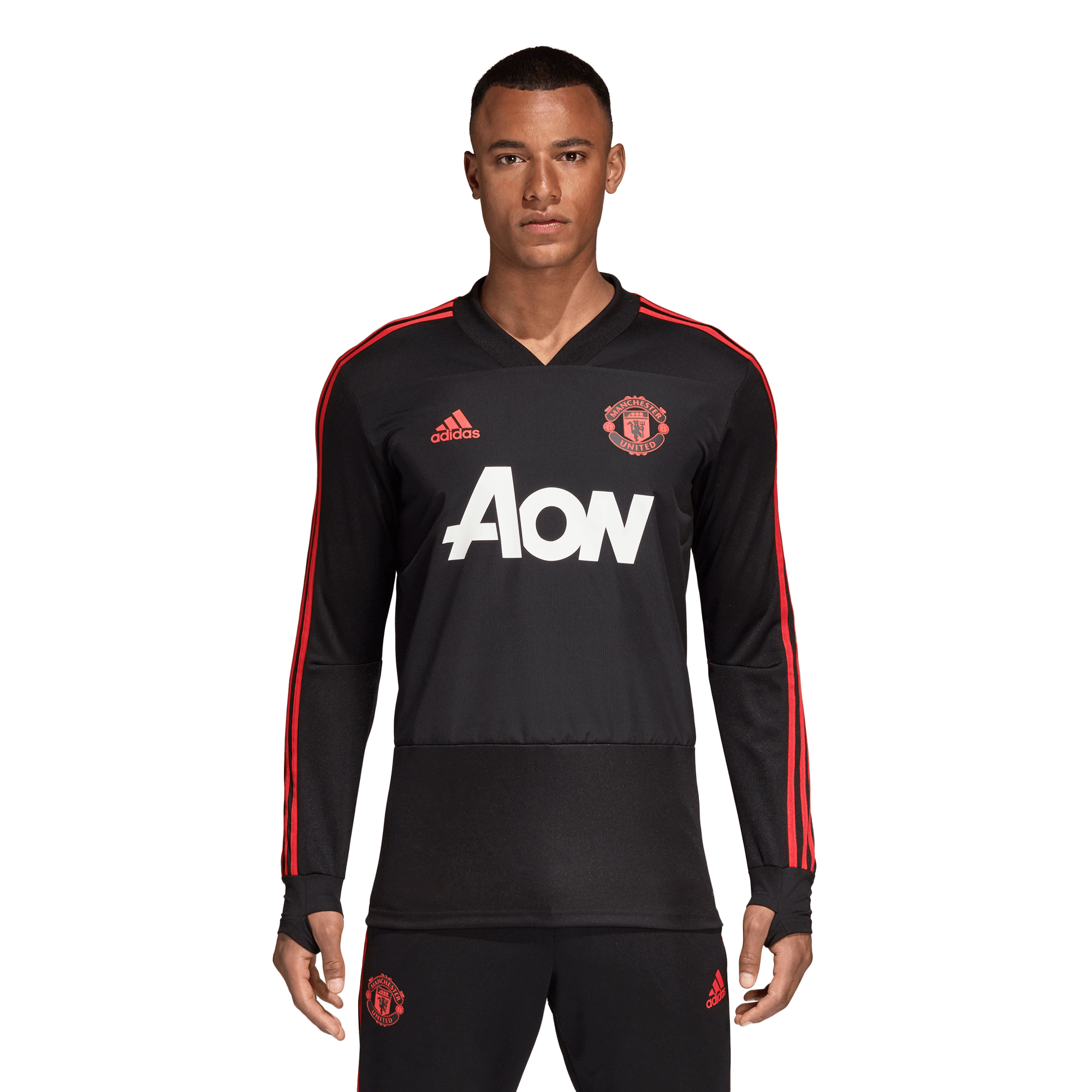 adidas Manchester United Trainingsshirt 2018 2019 Black Blaze Red
