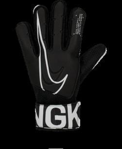 De Nike Jr Match Goal Keeperhandshoen Black White hebben zachte vulling om je handen te beschermen tegen de impact van de bal en geven je grip op snelle ballen, of het nu regent of zonnig is.